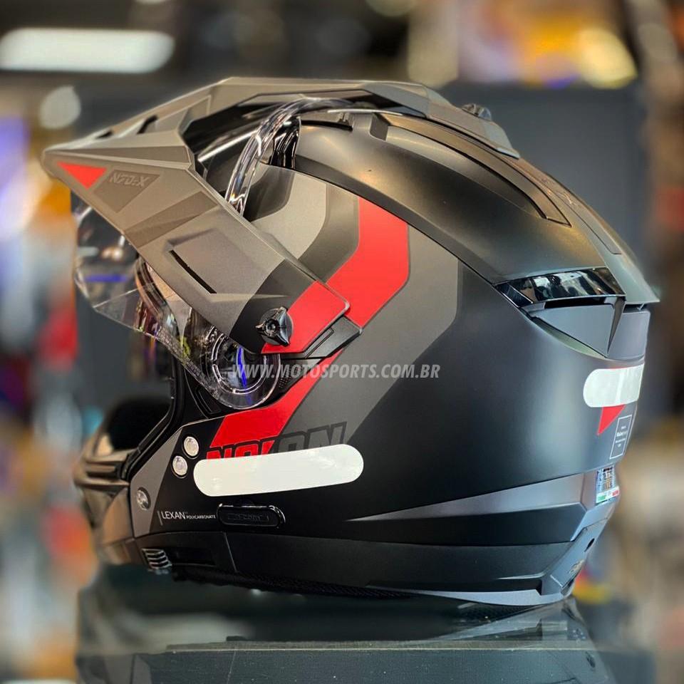 Capacete Nolan N70-2X Decurio Preto/Vermelho Fosco C/ Viseira Solar - Ganhe Touca Balaclava  - Motosports