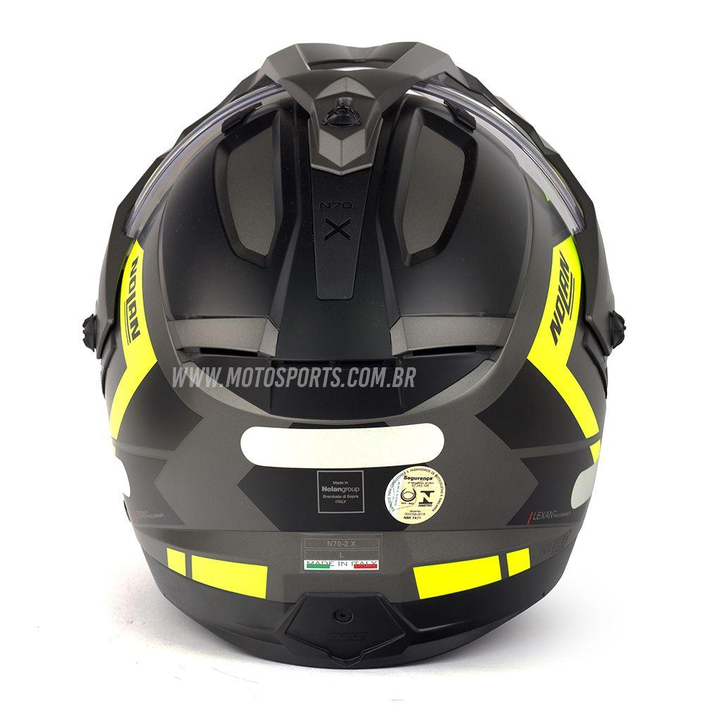 Capacete Nolan N70-2X Grandes Alpes Preto/Amarelo Fosco Big Trail / Off-Road C/ Viseira Solar - Ganhe Touca Balaclava  - Motosports