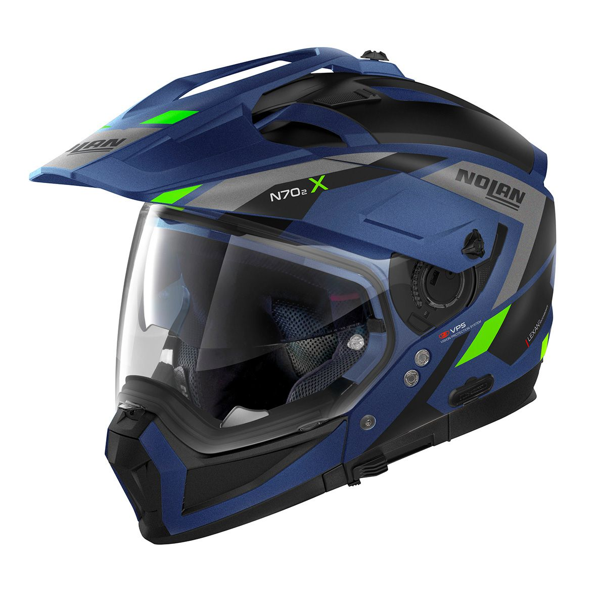 Capacete Nolan N70-2X Grandes Alpes Preto/Azul Fosco Big Trail / Off-Road C/ Viseira Solar - Ganhe Touca Balaclava  - Motosports