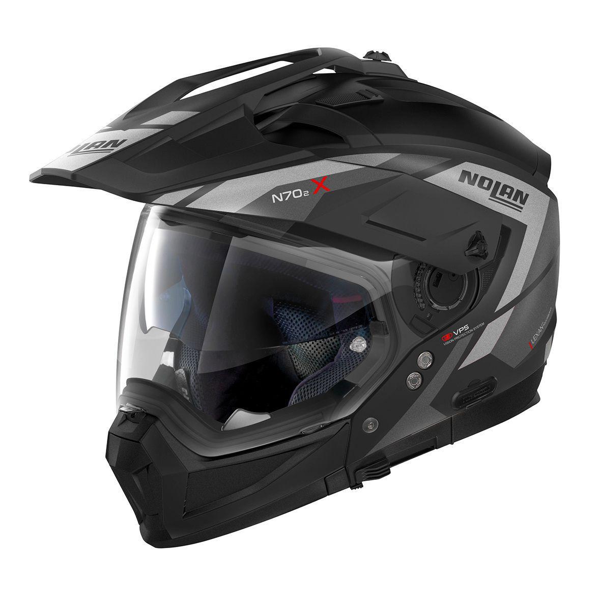 Capacete Nolan N70-2X Grandes Alpes Preto/Cinza/Fosco Big Trail / Off-Road C/ Viseira Solar - Ganhe Touca Balaclava  - Motosports