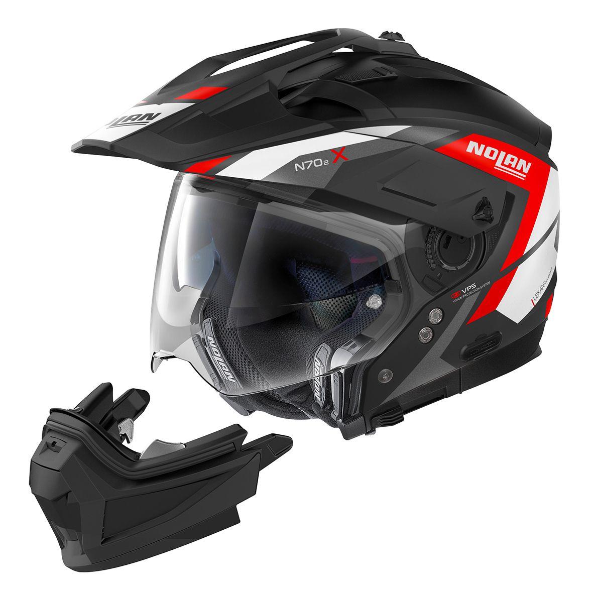 Capacete Nolan N70-2X Grandes Alpes Preto/Vermelho Fosco Big Trail / Off-Road C/ Viseira Solar - Ganhe Touca Balaclava  - Motosports