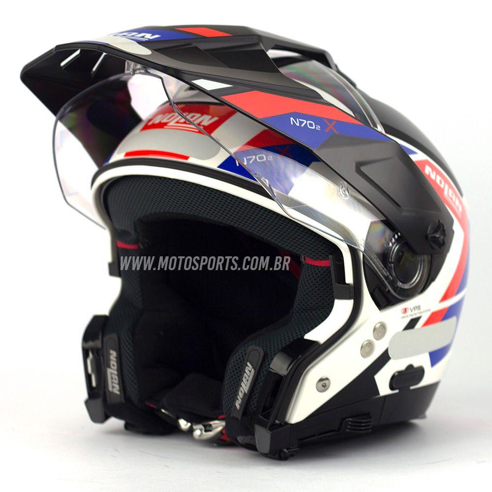 Capacete Nolan N70-2X Grandes Alpes Tricolor Fosco Big Trail / Off-Road C/ Viseira Solar - Ganhe Touca Balaclava  - Motosports