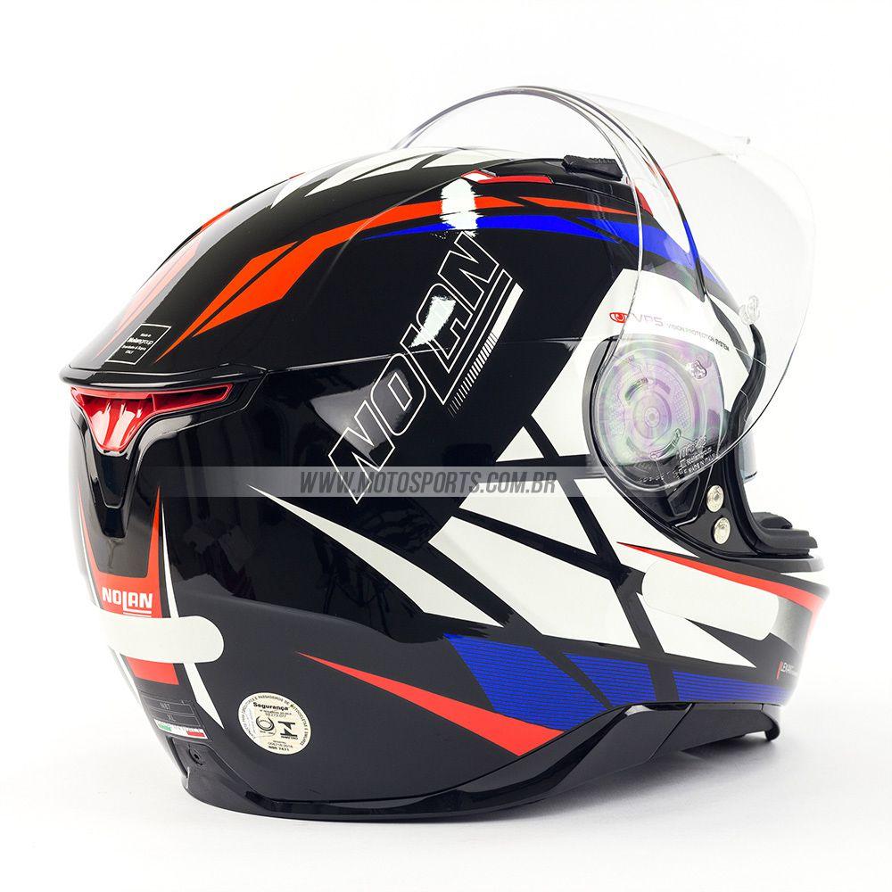 Capacete Nolan N87 Originality Tricolor (64) - C/ Viseira Solar - Ganhe Touca Balaclava  - Motosports