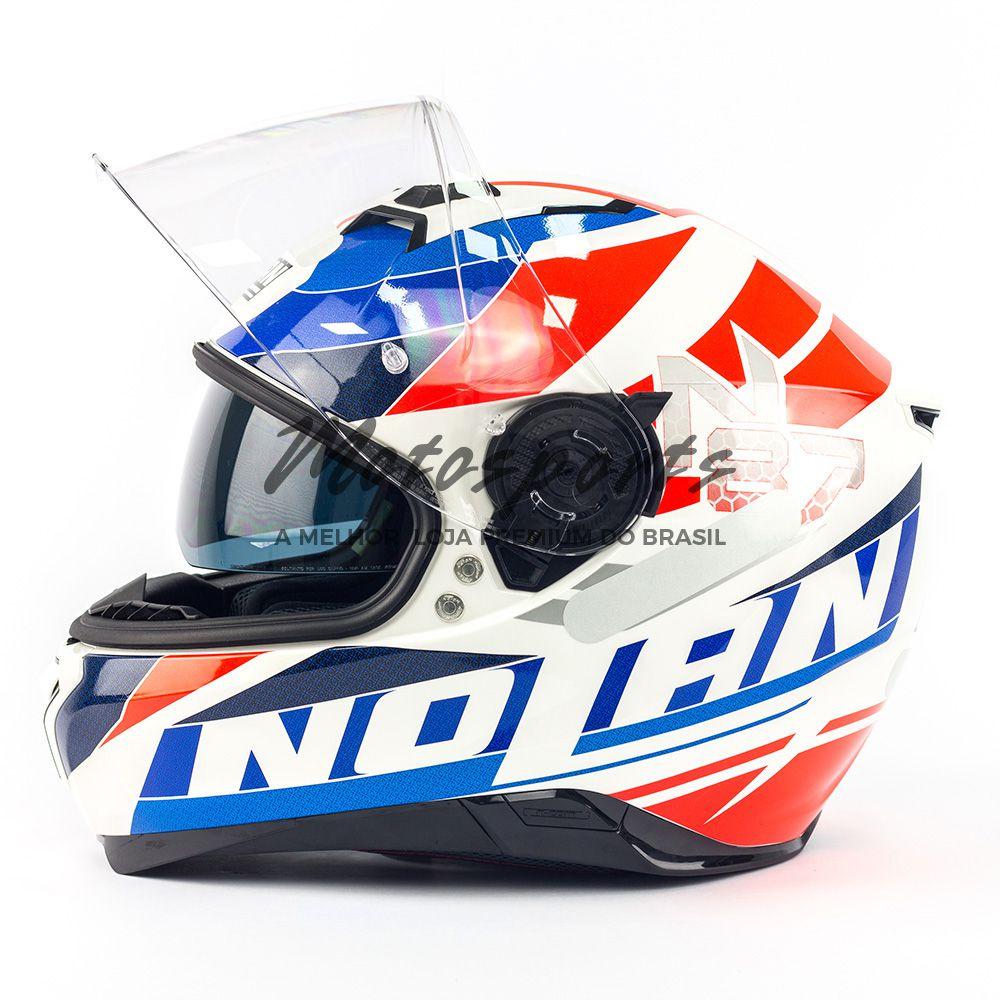 Capacete Nolan N87 Plein Air Branco C/ Viseira Solar - NOVO! - Ganhe Touca Balaclava  - Motosports