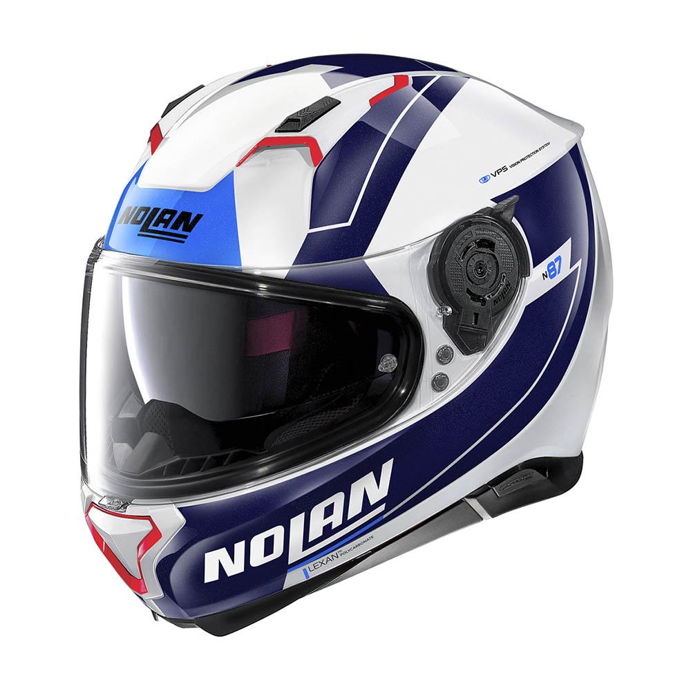 Capacete Nolan N87 Skilled Branco/Azul (99) - 56  - Motosports