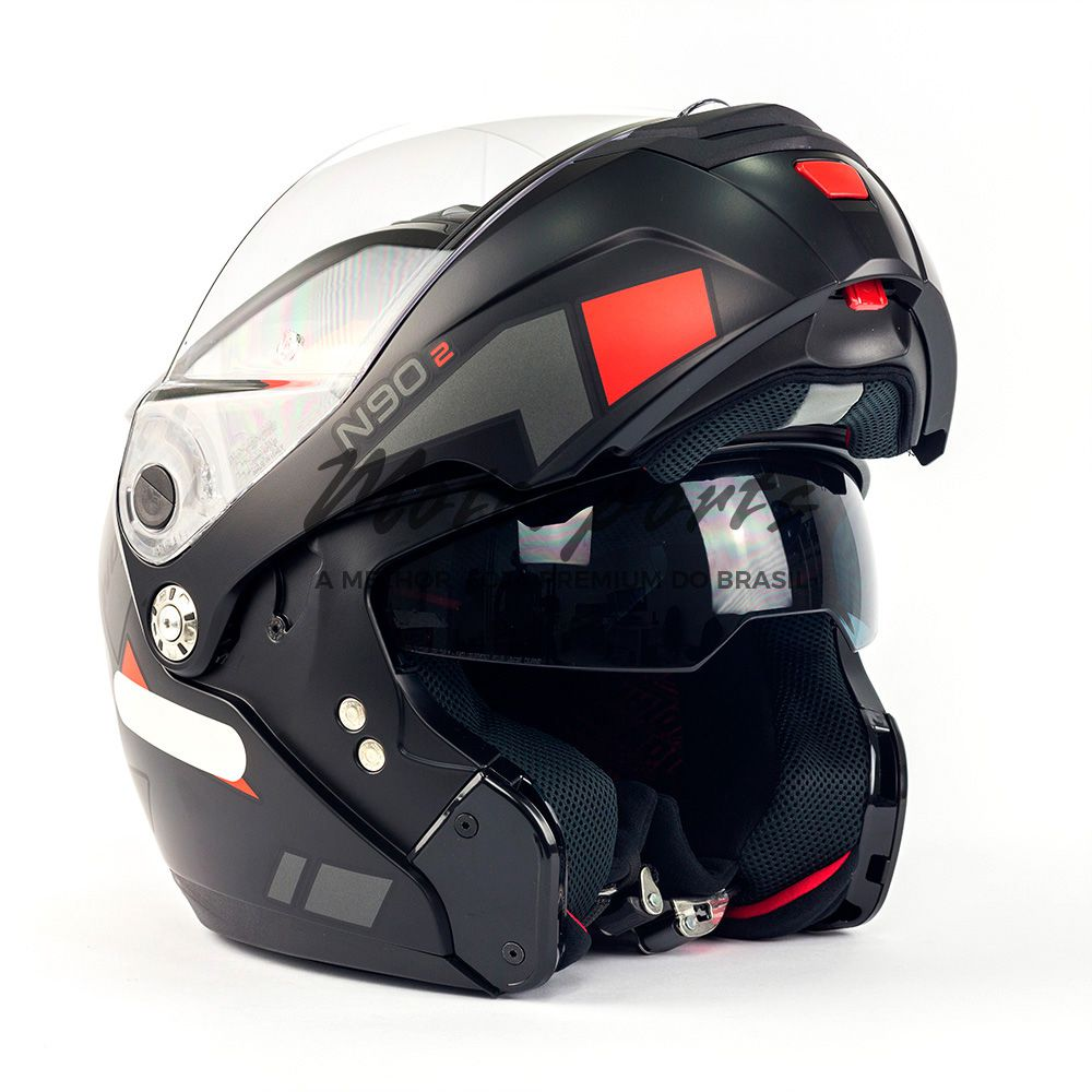 Capacete Nolan N90 Euclid Flat Black/Red 25 Escamoteável C/ Viseira Solar Interna - (GANHE BALACLAVA NOLAN)  - Motosports