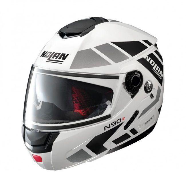 Capacete Nolan N90 Euclid Metal White 28 Escamoteável C/ Viseira Solar Interna - (GANHE BALACLAVA NOLAN)  - Motosports