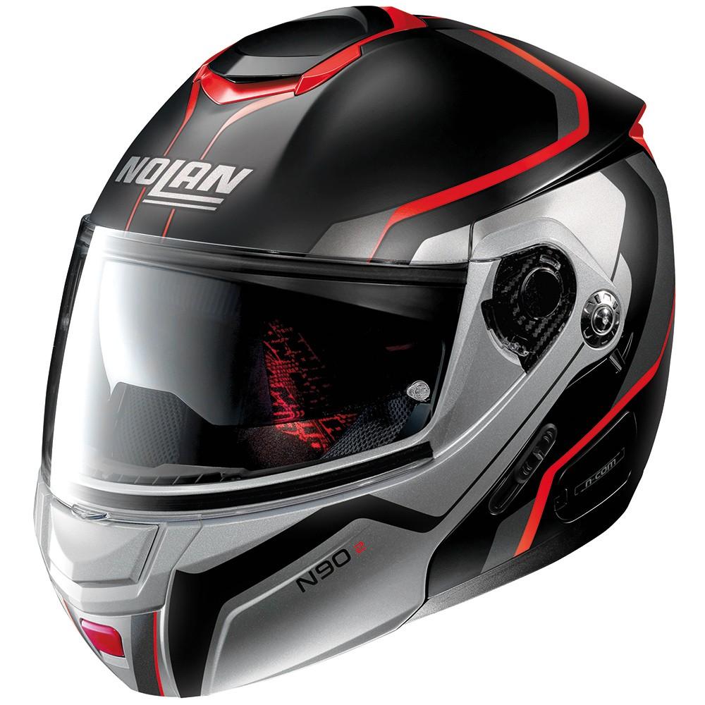 Capacete Nolan N90 Meridianus Preto/Prata/Vermelho (cor 29) Escamoteável C/ Viseira Solar - (GANHE BALACLAVA NOLAN)  - Motosports