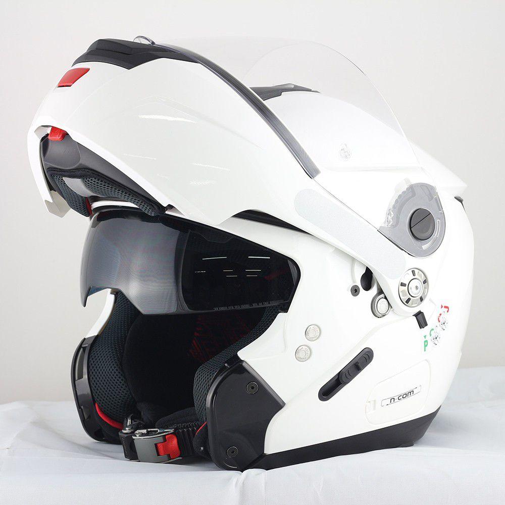 Capacete Nolan N90 Special Branco Escamoteável (GANHE BALACLAVA NOLAN) C/ Viseira Solar Interna  - Motosports