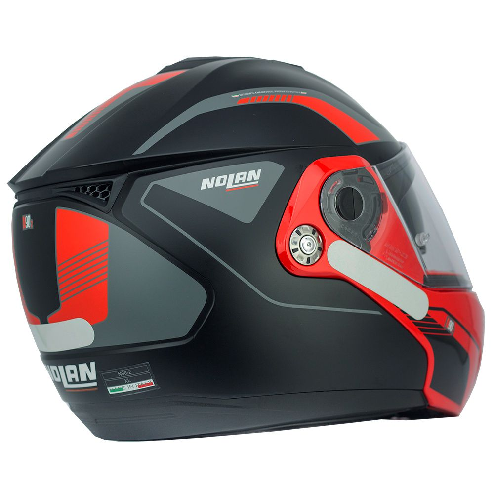 Capacete Nolan N90 Straton Black/Red Escamoteável C/ Viseira Solar Interna - (GANHE BALACLAVA NOLAN)  - Motosports