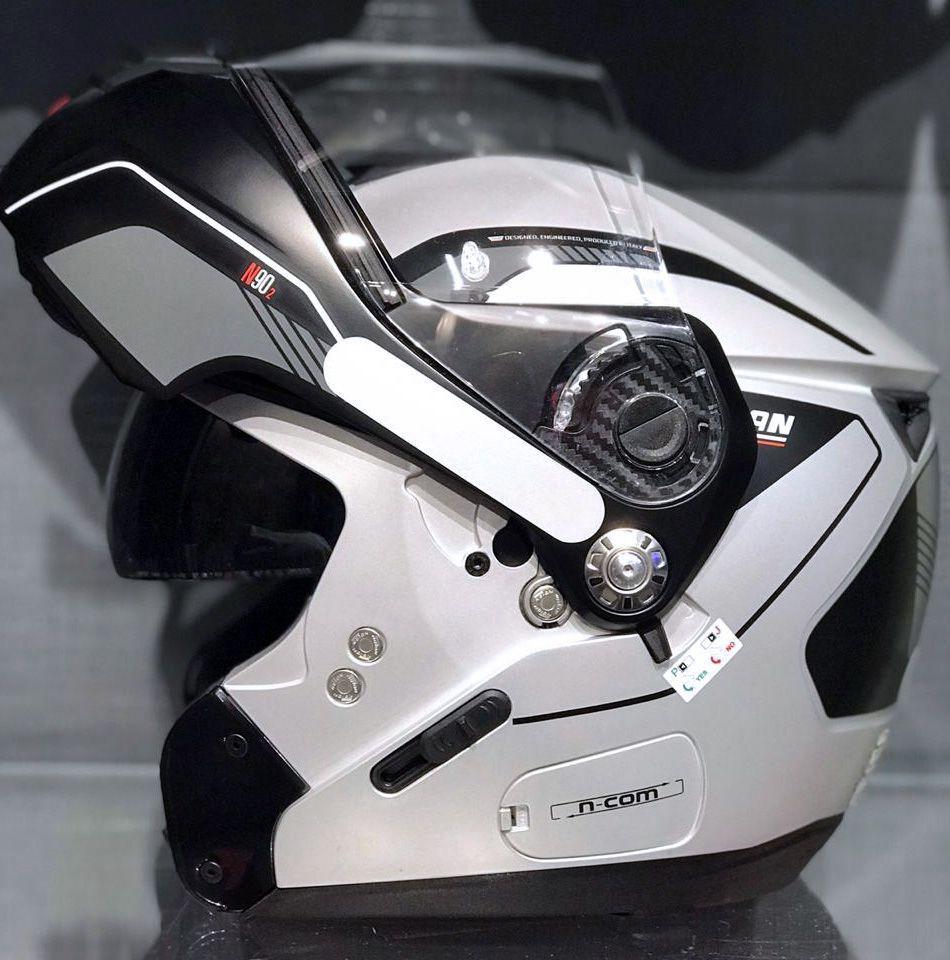 Capacete Nolan N90 Straton Prata Escamoteável (GANHE BALACLAVA NOLAN) C/ Viseira Solar Interna  - Motosports