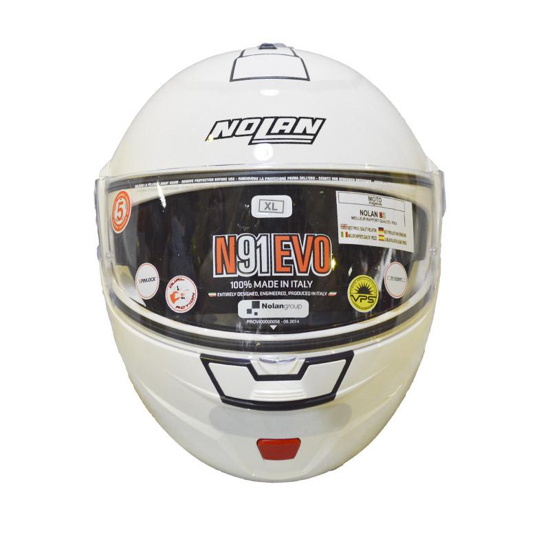 CAPACETE NOLAN N91 EVO CLASSIC N-COM - BRANCO - C/ VISEIRA INTERNA (COMPRE E GANHE UMA BALACLAVA)  - Motosports