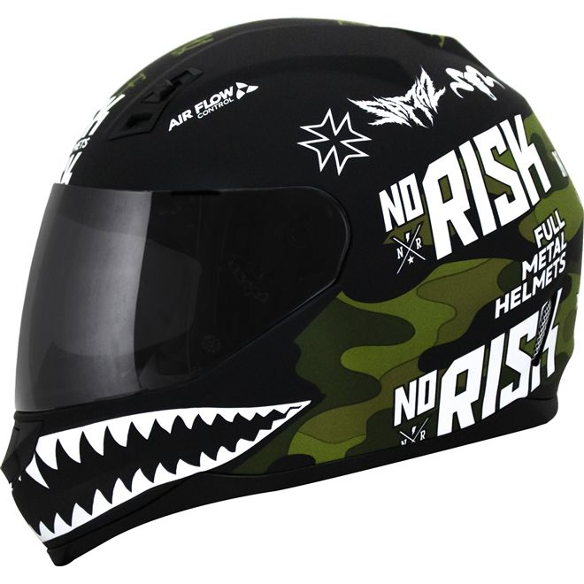 Capacete Norisk FF391 Ride Hard Preto/Verde Camuflado  - Motosports