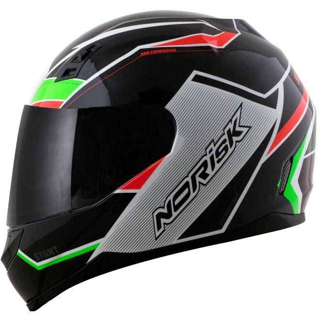 Capacete Norisk FF391 Storm Preto/Verde/Vermelho Brilho  - Motosports