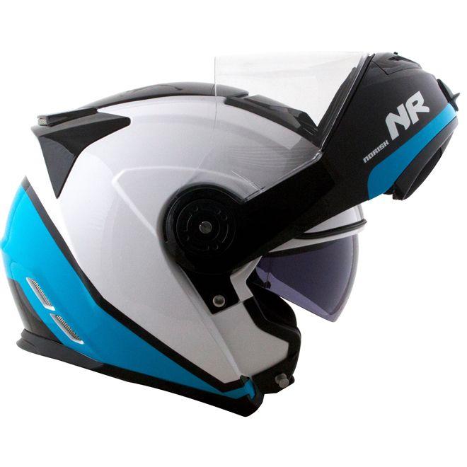 Capacete Norisk Route FF345 Articulado Chance Branco/Azul/Preto Brilho  - Motosports