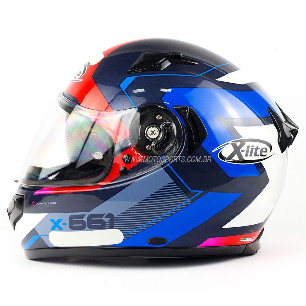 Capacete X-Lite X-661 Motivator Gloss Azul Tri-Composto - MegaOferta!  - Motosports