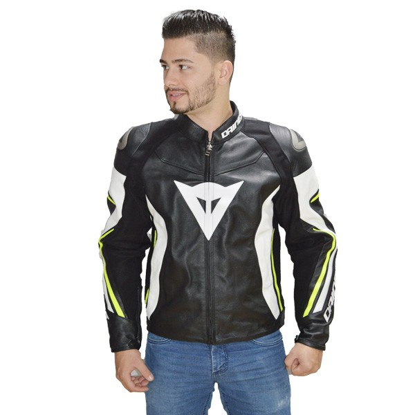 JAQUETA DAINESE ASSEN LEATHER - BLACK/WHITE/RED-FLUO  - Motosports