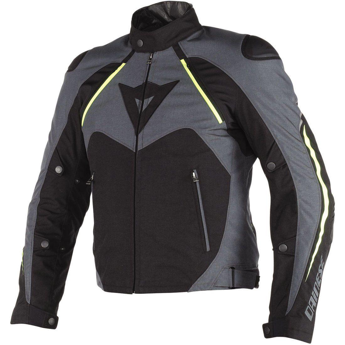 JAQUETA DAINESE HAWKER D-DRY BLACK EBONY FLUO YELLOW  - Motosports