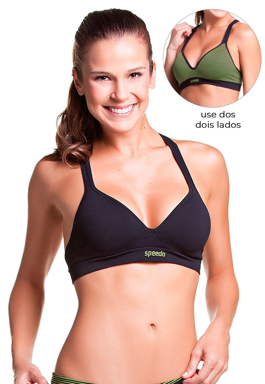 Sutiã Bojo Dupla Face Fitness Preto/Verde