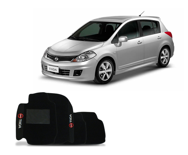 Jogo de Tapetes Nissan Tiida Carpete Bordado