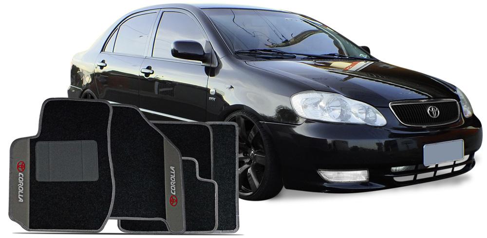 Jogo de Tapetes Toyota Corolla 2002 a 2008 Carpete Bordado