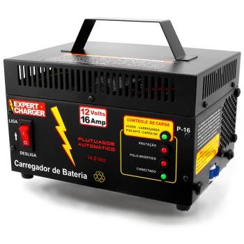 Carregador de Bateria 12 volts 16A - Automático Inteligente com Flutuador - PR16   - Fabrica De Carregador