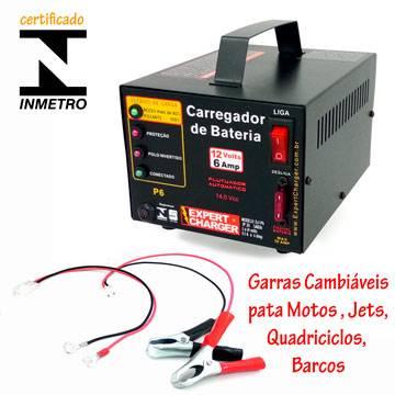Carregador de Bateria 12 volts 6A - Automático Inteligente com Flutuador + plug para moto P6      - Fabrica De Carregador