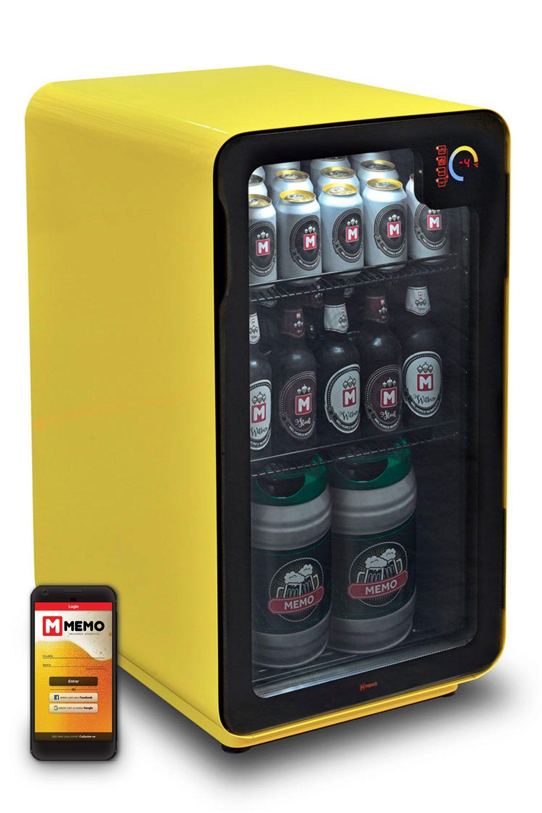 Cervejeira Memo 100 litros Frost Free Amarela com Wi-fi