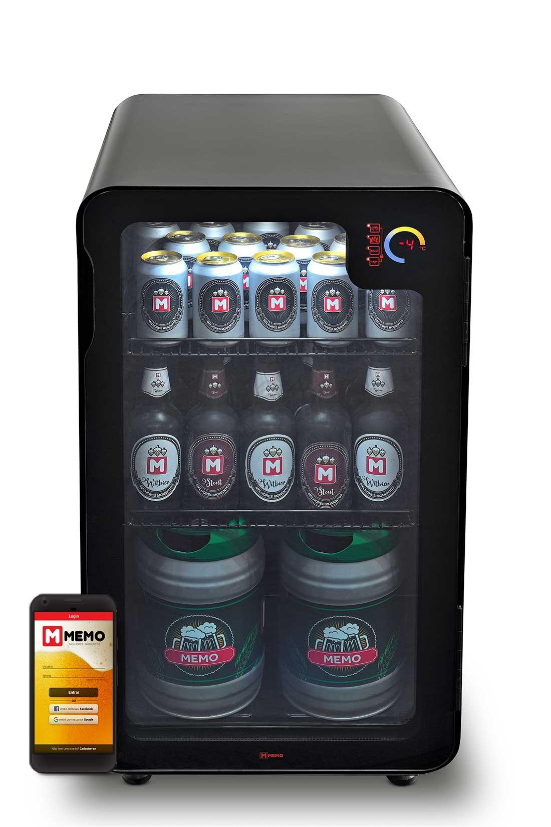 Cervejeira Memo 100 litros Frost Free Preta com Wi-fi