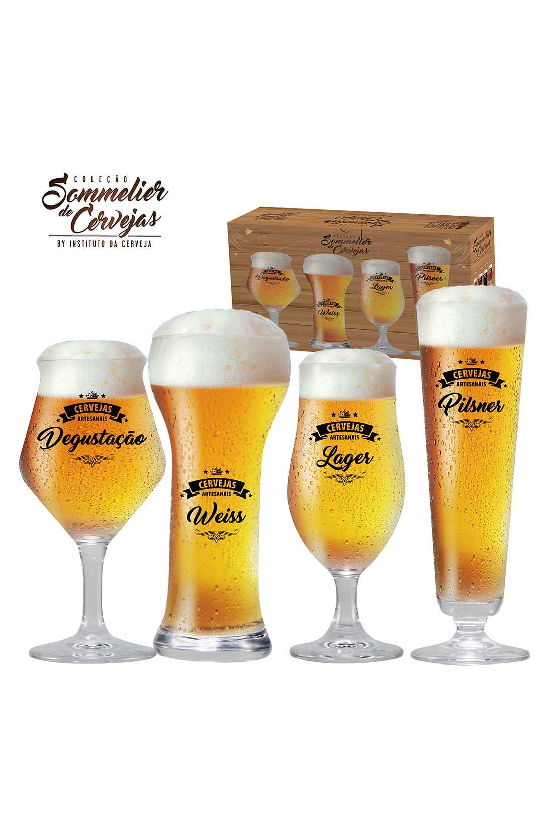 Kit de Taças de Cristal para Cervejas Claras