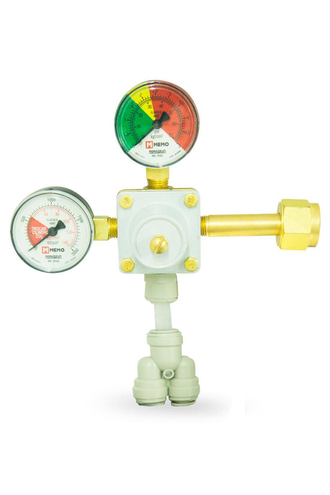 Válvula Redutora de Pressão com Manômetro e Engate Rápido de 2 Saídas