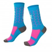 MEIA HUPI CICLISTA COLORFUL COLLECTION AZUL ROSA COLMEIA 495-29