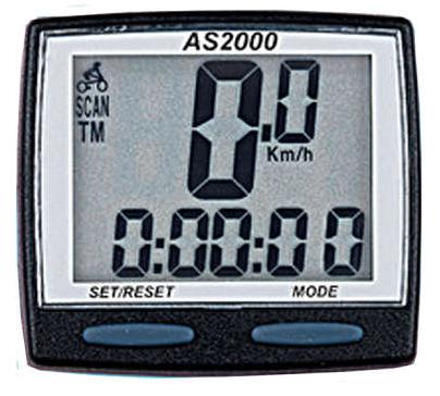 CICLOCOMPUTADOR ASSIZE 8 FUNCOES WIRELESS PRETO Ref: AS-2000