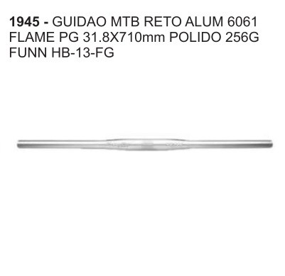 GUIDAO PARA BIKE MTB 31.8X710MM FUNN RETO ALUMINIO 6061 FLAME PG POLIDO 256G HB-13-FG