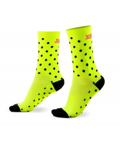 MEIA HUPI CICLISTA COLORFUL COLLECTION AMARELO NEON DOTS 495-6