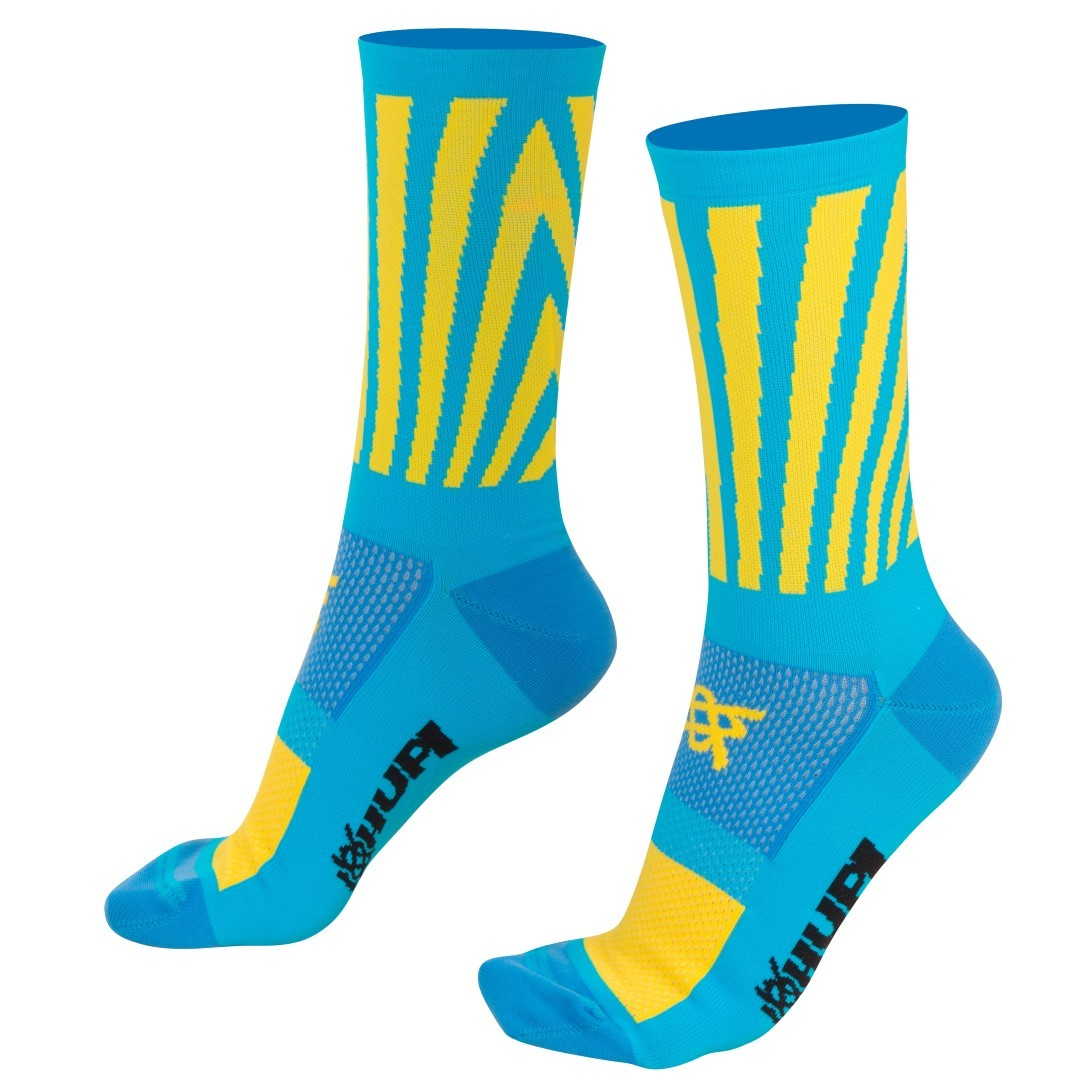 MEIA HUPI CICLISTA COLORFUL COLLECTION AZUL AMARELO SOLAR 495-27  - Bike Runners