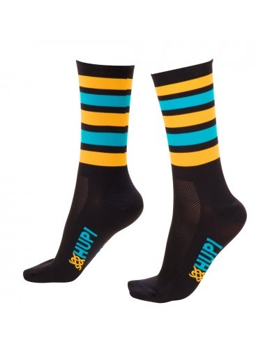 MEIA HUPI CICLISTA COLORFUL COLLECTION PRETO AMARELO e AZUL 495-17