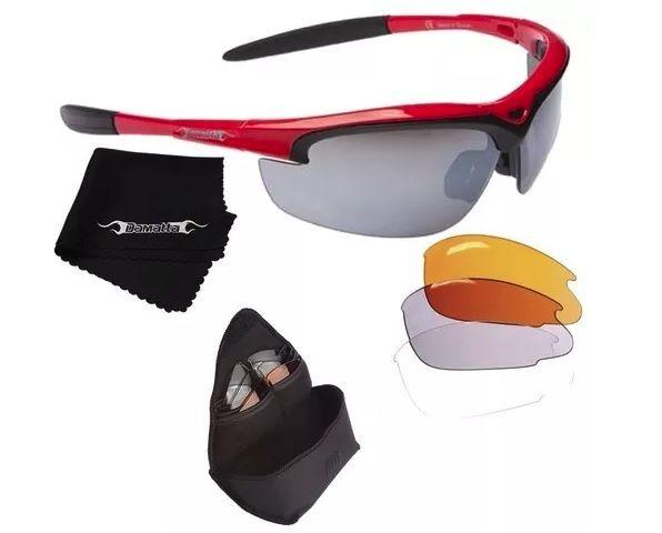 Oculos Para Ciclismo Damatta Fun 4 Lentes - Vermelho