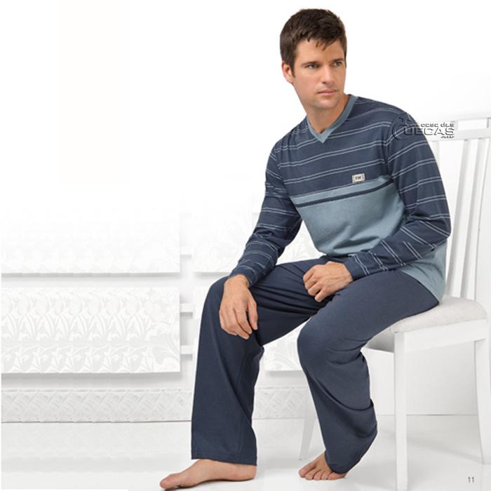 Pijama Fitswell Longo Fio Tinto Tamanhos Especiais Azul - 19026