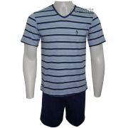 Pijama Íntimo Homem Curto Listrado Infantil - 05238