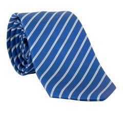 Gravata Clássica com Desenho Listrado em Poliéster Azul