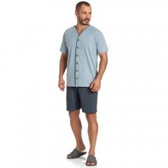Pijama Masculino Curto Aberto Toque Slepwear Cinza 07.02.010