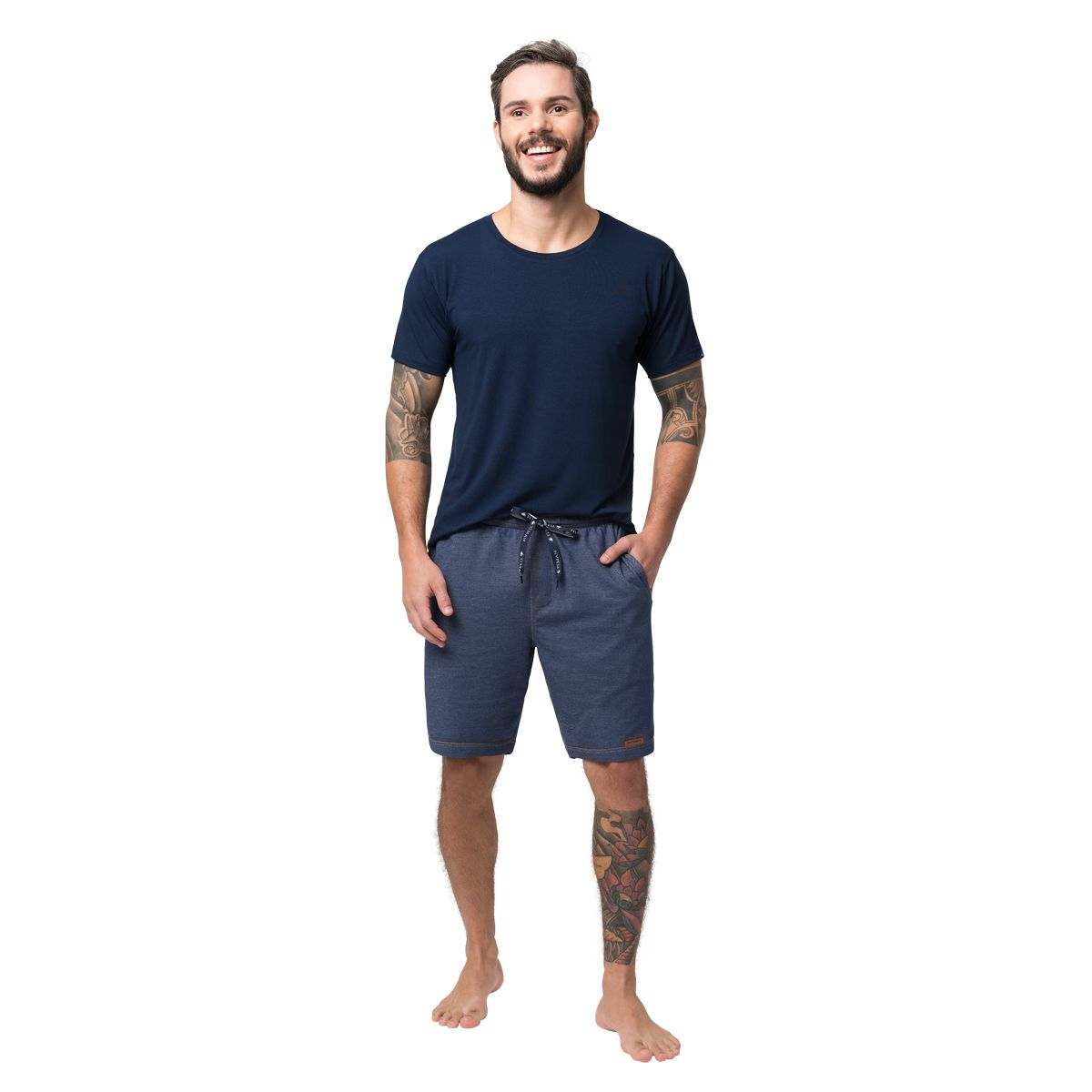 Bermuda Masculina Homewear Moletinho Azul Jeans 05.02.026