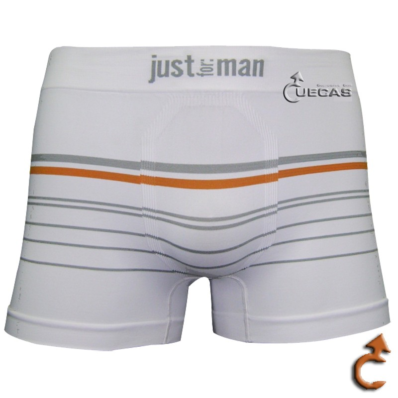 Cueca Just For Man Boxer Sem Costura Listrada - 12.000208