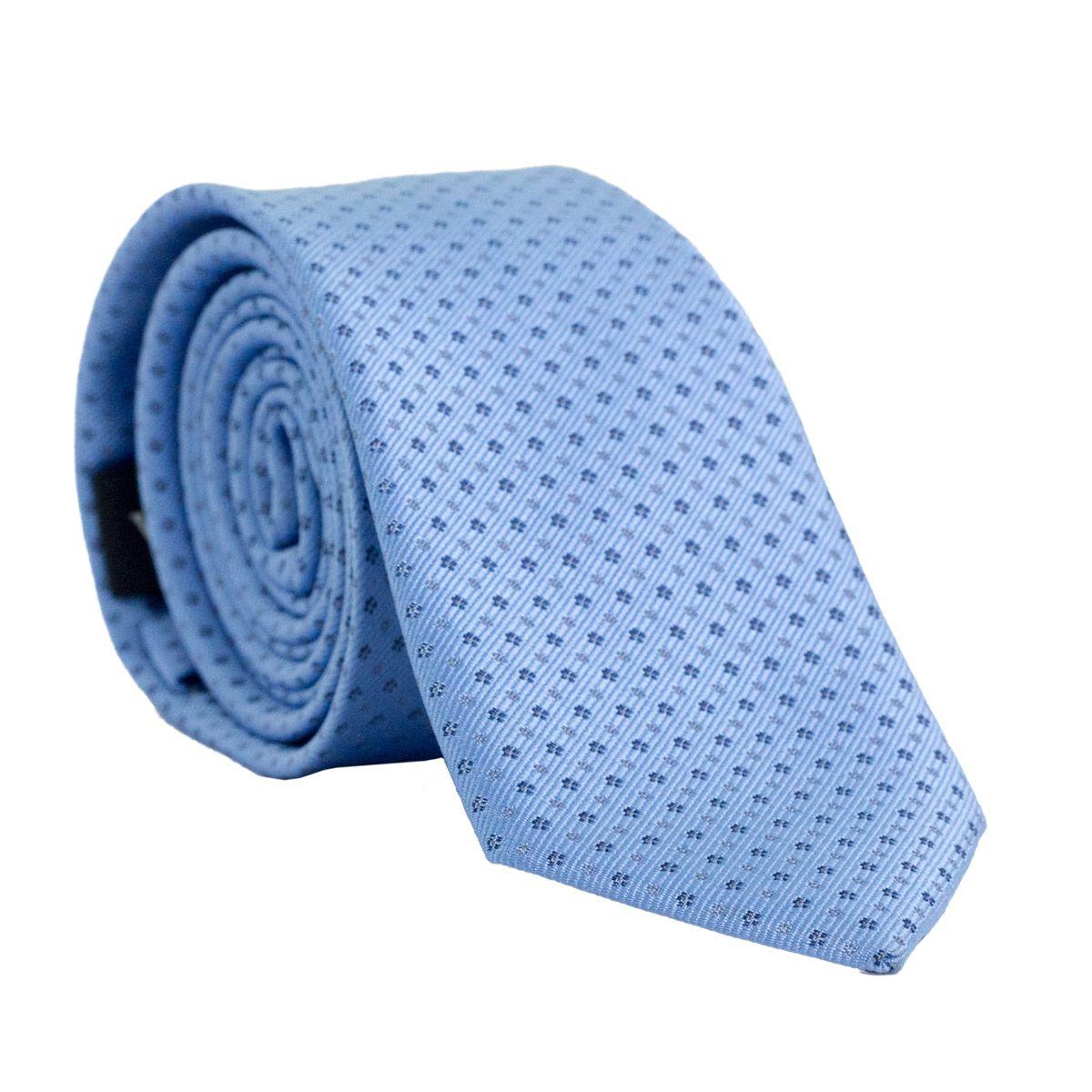 Gravata Slim com Desenho Geométrico em Poliester Azul