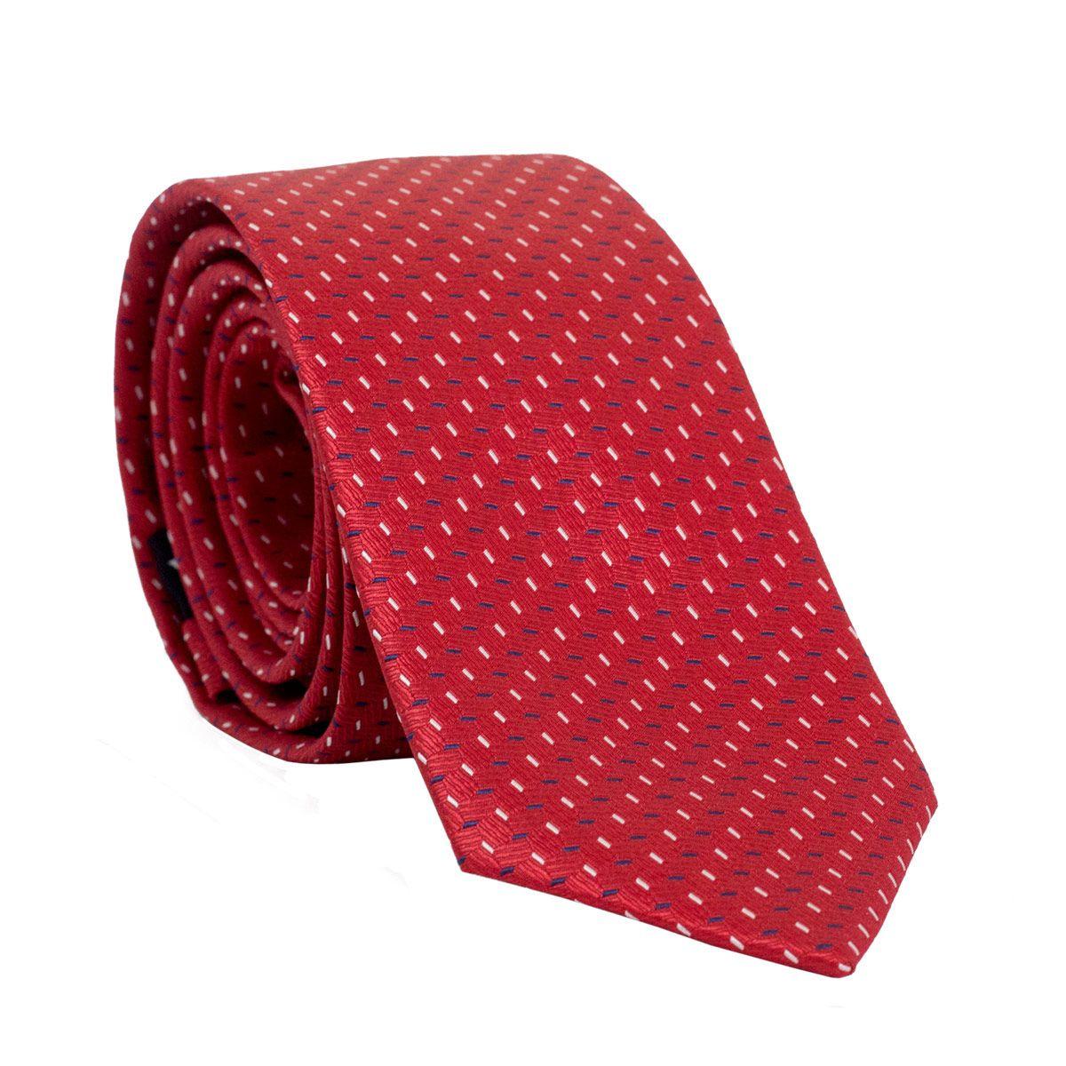 Gravata Slim com Desenho Geométrico em Poliester Vermelho