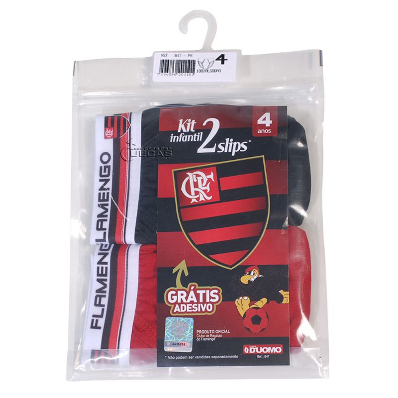 Kit C/ 2 Cuecas Slip Infantil Flamengo - 847