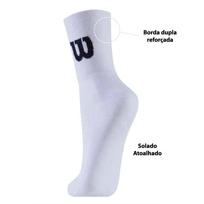 Kit c/3 Pares Meia Tênis Wilson Sport Socks - CB4179