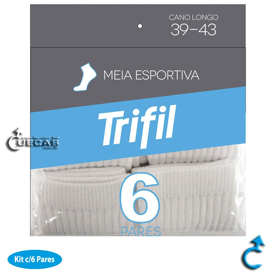 Kit c/ 6 Pares de Meia Esportiva Cano Curto 39-43 - T08720