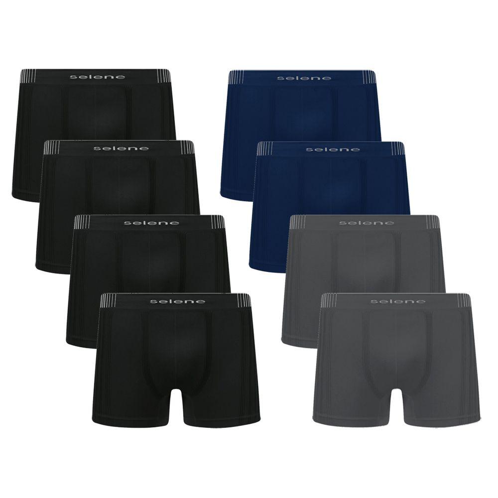 Kit c/8 Cuecas Boxer Microfibra Sem Costura Selene - 11190
